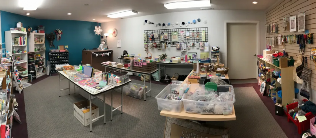 Wide view of Lost & Found Crafts store